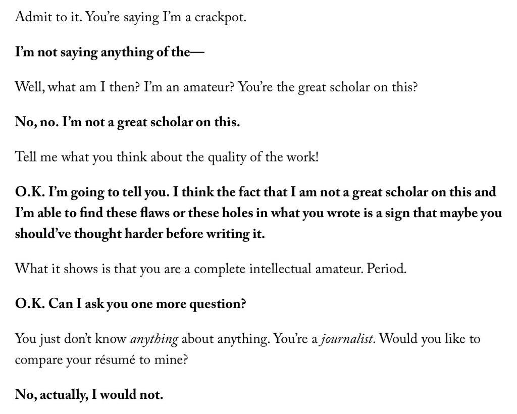 Excerpt of New Yorker article
